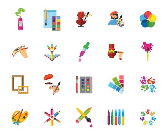 Conjunto de iconos de arte y artesanía