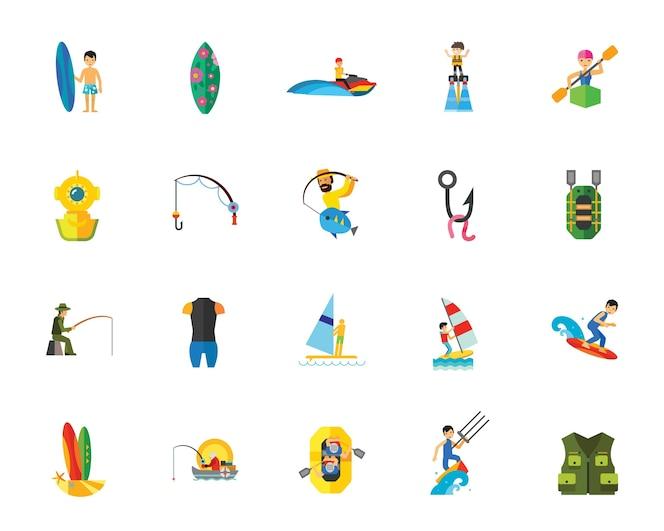 Conjunto de iconos de atletas de deporte acuático
