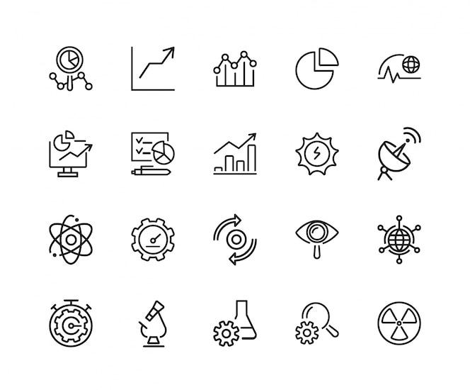 Conjunto de iconos de ciencia y desarrollo