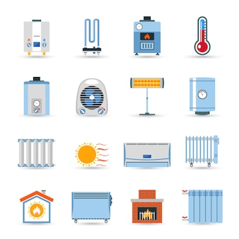 Conjunto de iconos de color plano de calefacción