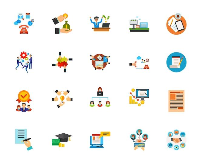 Conjunto de iconos de comunicación empresarial