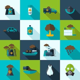 Conjunto de iconos de contaminación