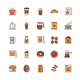 Conjunto de iconos de contorno lleno de cafetería