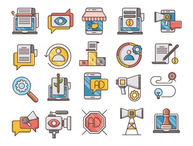 Conjunto de iconos de contorno lleno de marketing digital