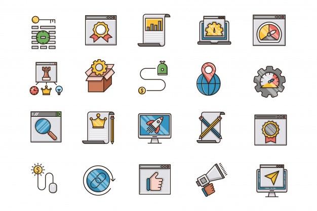 Conjunto de iconos de contorno lleno de optimización seo y web