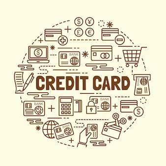 Conjunto de iconos de delgada línea de tarjeta de crédito