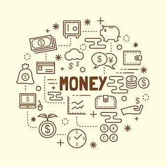 Conjunto de iconos de delgada línea dinero mínimo