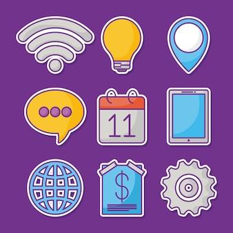 Conjunto de iconos de diseño de marketing en línea