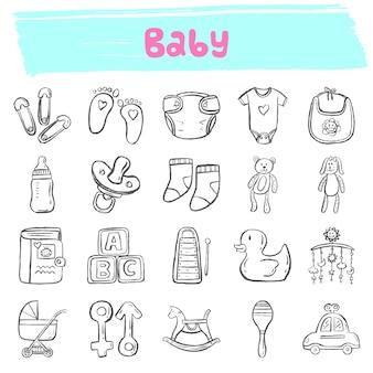 Conjunto de iconos de doodle de dibujado a mano de bebé