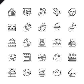 Conjunto de iconos de elementos de tienda de panadería delgada línea