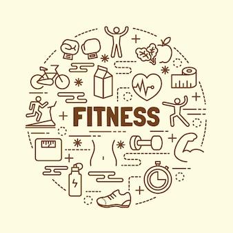 Conjunto de iconos de fitness delgada línea delgada