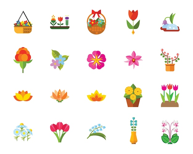 Conjunto de iconos de flores