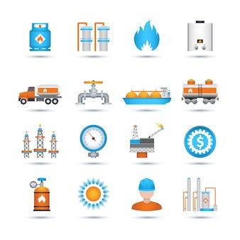 Conjunto de iconos de gas