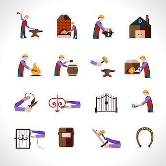Conjunto de iconos de herrero