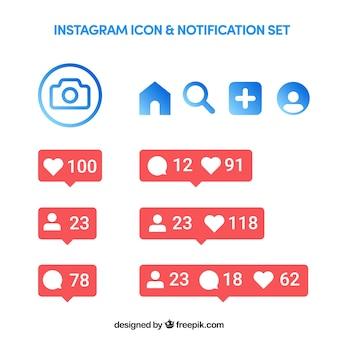 Conjunto de iconos de instagram y notificaciones en estilo plano