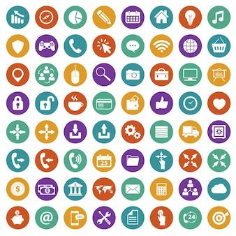 Conjunto de iconos de la aplicación. plano