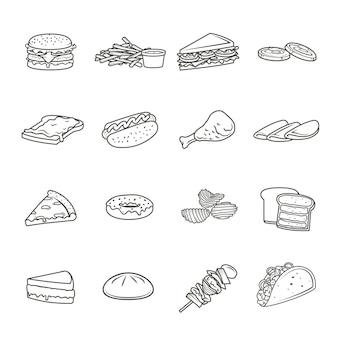 Conjunto de iconos de línea de comida rápida