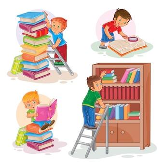 Conjunto de iconos de los niños pequeños leyendo un libro