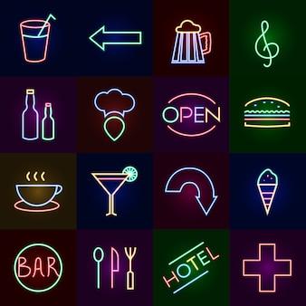 Conjunto de iconos de neón