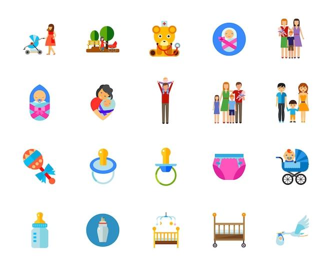 Conjunto de iconos de niños
