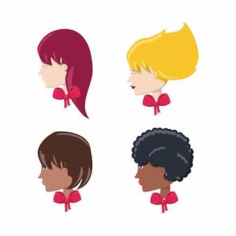 Conjunto de iconos de perfiles de mujer de dibujos animados