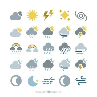 Conjunto de iconos de previsión del tiempo
