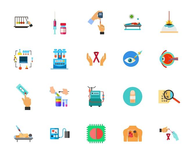 Conjunto de iconos de prueba médica