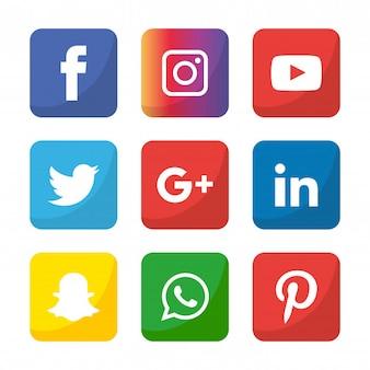 Conjunto de iconos de redes sociales. logo illustrator. facebook, instagram, whatsapp,