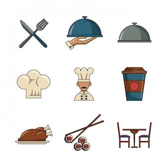 Conjunto de iconos de restaurante y comida