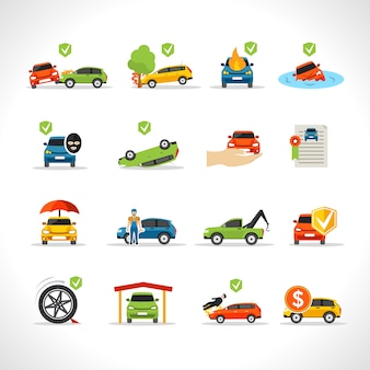 Conjunto de iconos de seguro de coche