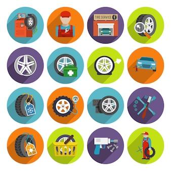 Conjunto de iconos de servicio de neumáticos