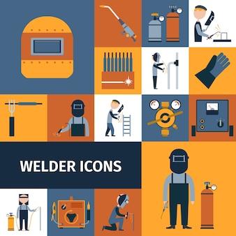 Conjunto de iconos de soldador