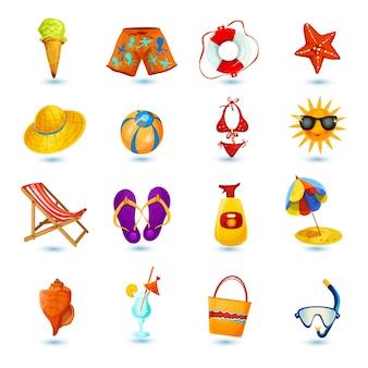 Conjunto de iconos de vacaciones de verano