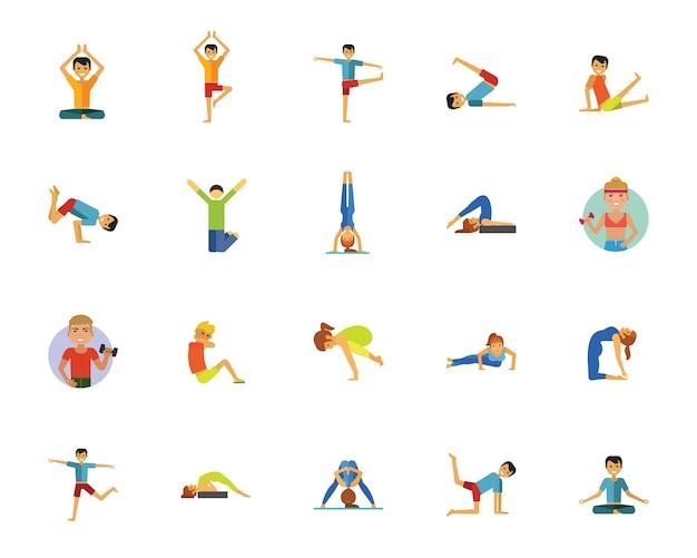 Conjunto de iconos de yoga, fitness y salud