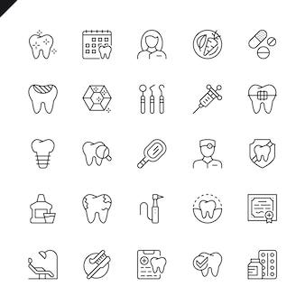 Conjunto de iconos dentales de delgada línea