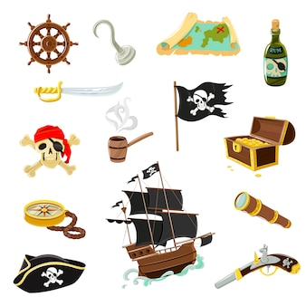 Conjunto de iconos planos de accesorios de pirata