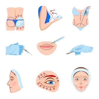 Conjunto de iconos planos de cirugía plástica
