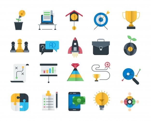 Conjunto de iconos planos de estrategia