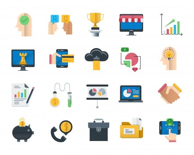 Conjunto de iconos planos de negocios y finanzas