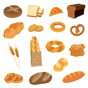 Conjunto de iconos planos de pan fresco