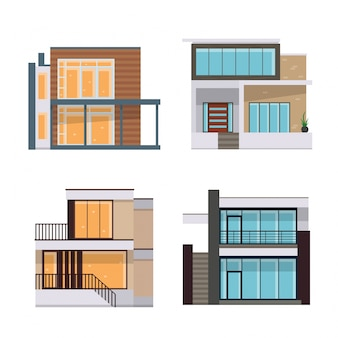 Conjunto de ilustración de casa residencial plana moderna