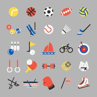 Conjunto de ilustración de iconos de deportes