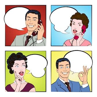 Conjunto de ilustración de personas de cómic