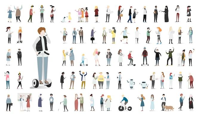Conjunto de ilustración de vector de avatar humano