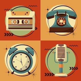 Conjunto de ilustración de vector de dispositivos vintage retro