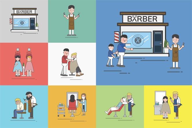 Conjunto de ilustración de vector de peluquería