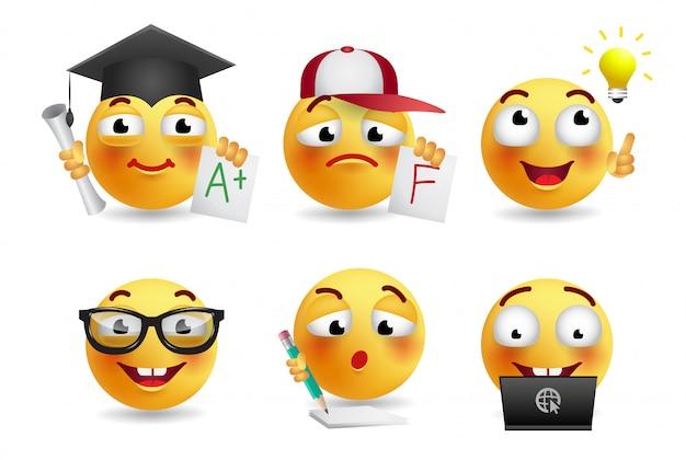 Conjunto de ilustración realista de smileys