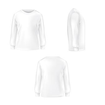 Conjunto de ilustración vectorial de una camiseta blanca con mangas largas.