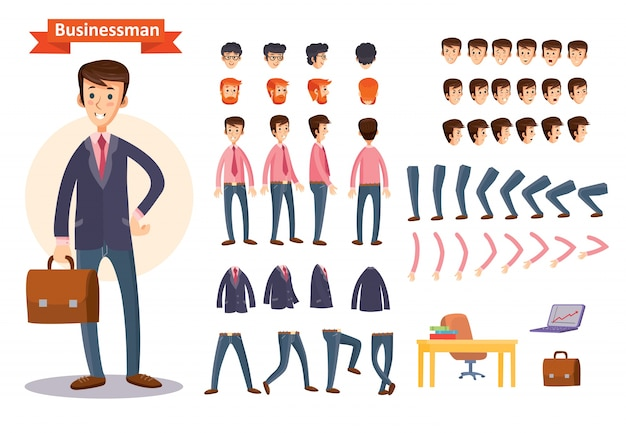 Conjunto de ilustraciones de dibujos animados de vectores para crear un personaje, empresario.