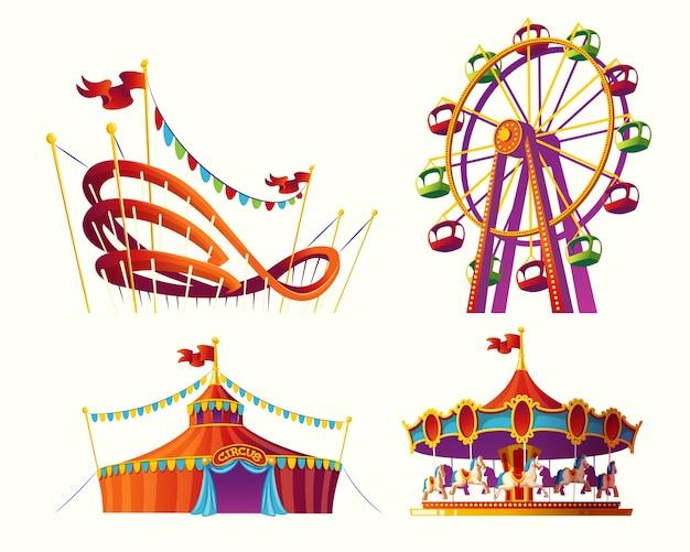 Conjunto de ilustraciones de dibujos animados de vectores para un parque de atracciones